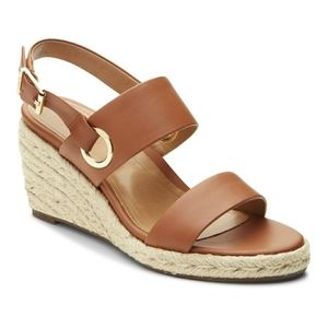 Vionic Tulum Vero Tan Leather Wedge Sandal Size 8